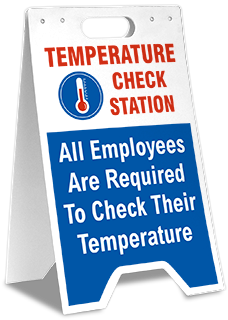 Temperature Check Station All Employees Required Floor Stand