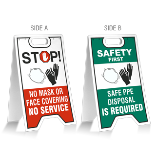No Mask No Gloves No Service - Safe PPE Disposal Floor Stand