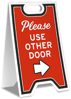 Please Use Other Door Right Arrow Floor Stand