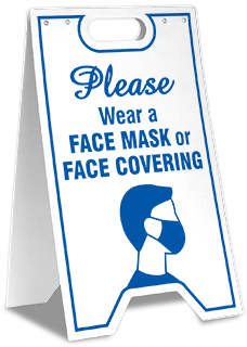 Please Wear Face Mask Or Face Covering Floor Stand