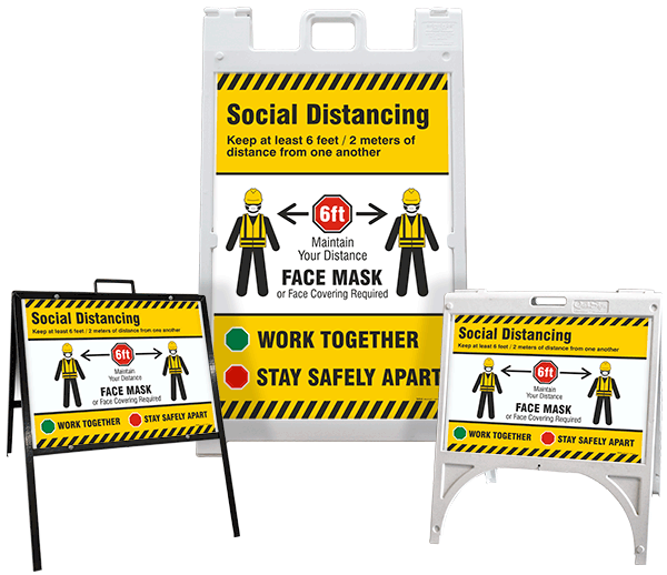 Social Distancing, Face Mask Required A-Frame Sign