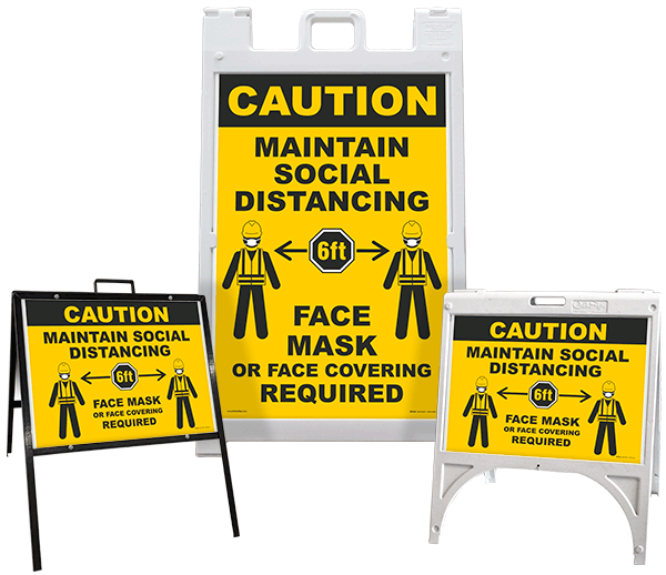 Caution Maintain Social Distancing A-Frame Sign