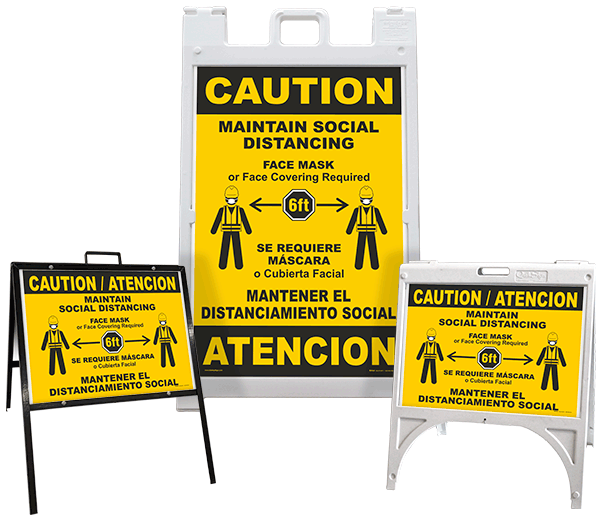 Bilingual Caution Maintain Social Distancing A-Frame Sign