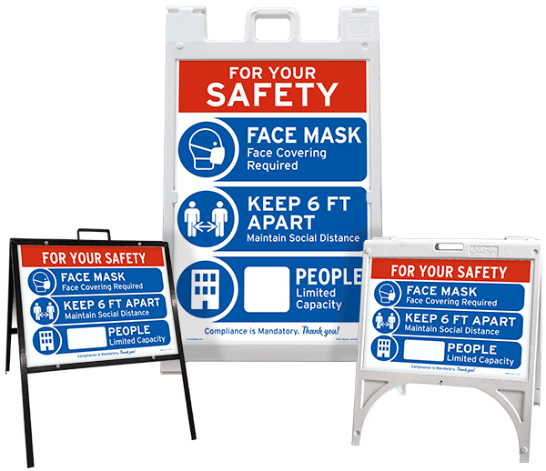 For Your Safety Face Mask & Social Distance Sidewalk Sign