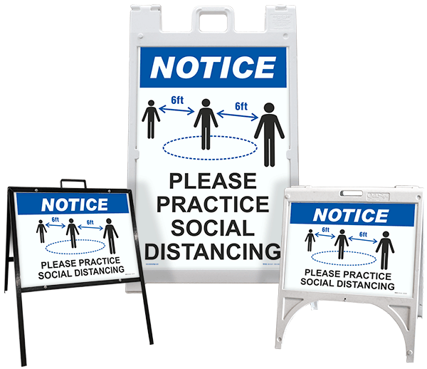Notice Please Practice Social Distance Sandwich Board Sign