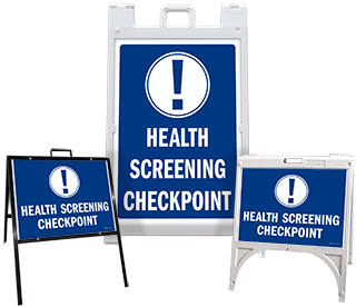 Health Screening Checkpoint Sandwich Board Sign