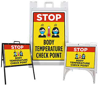 Stop Body Temperature Check Point Sandwich Board Sign