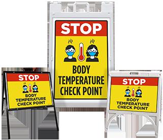 Stop Body Temperature Check Point Sandwich Board Sign