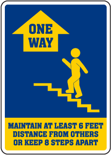 One Way Maintain At Least 6 Feet Distance Up Arrow Sign