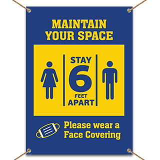 Maintain Your Space Wear Face Covering Banner