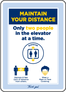 Maintain Your Distance Two People Elevator Sign
