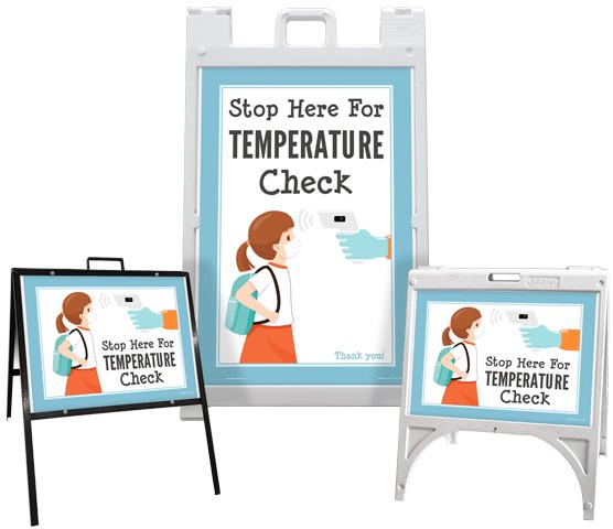 Stop Here For Temperature Check Sandwich Board Sign
