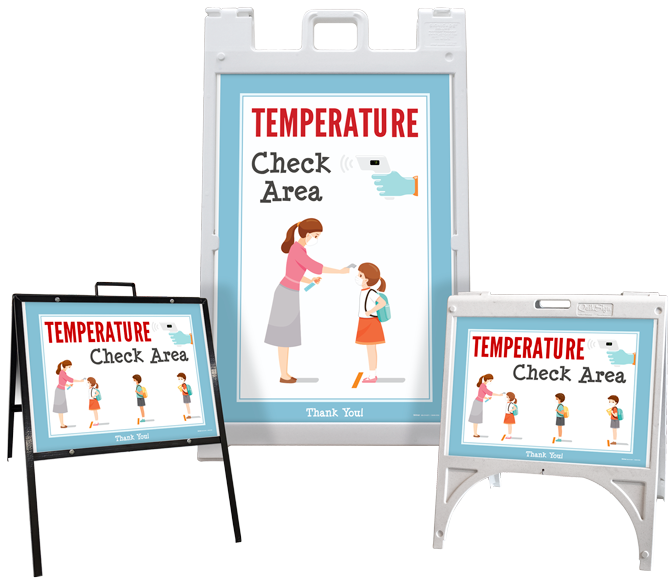 Temperature Check Area Sandwich Board Sign