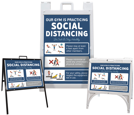Gym Social Distancing Sandwich Board Sign