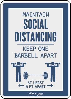 Maintain Social Distancing Gym Sign