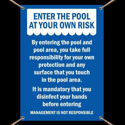 Enter Pool At Own Risk Banner