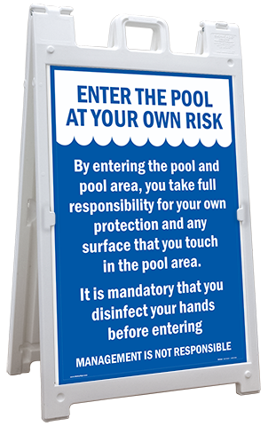 Entering Pool Risk Sandwich Board Sign
