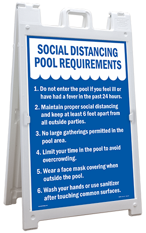 Social Distancing Pool Requirements Sandwich Board Sign