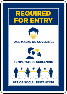 Face Mask/Covering Required For Entry Sign