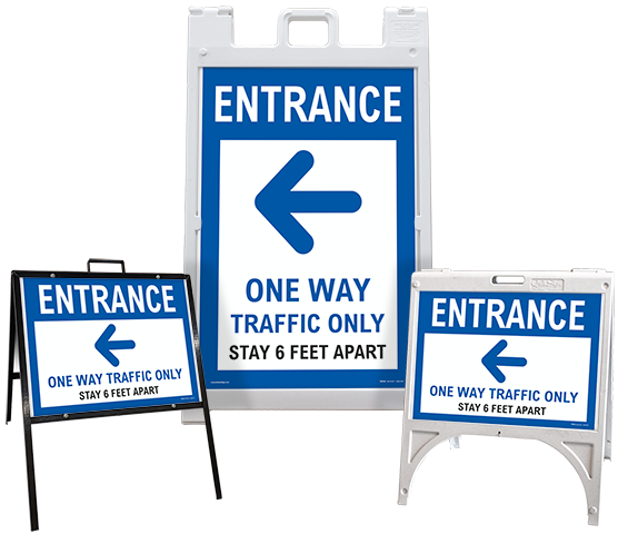 Entrance One Way Traffic Only Left Arrow Sandwich Board Sign