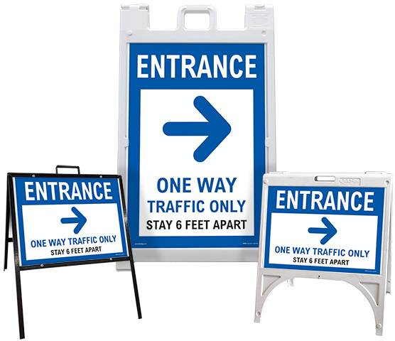 Entrance One Way Traffic Only Right Arrow Sandwich Board Sign
