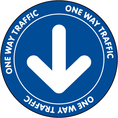 One Way Traffic Blue Floor Sign