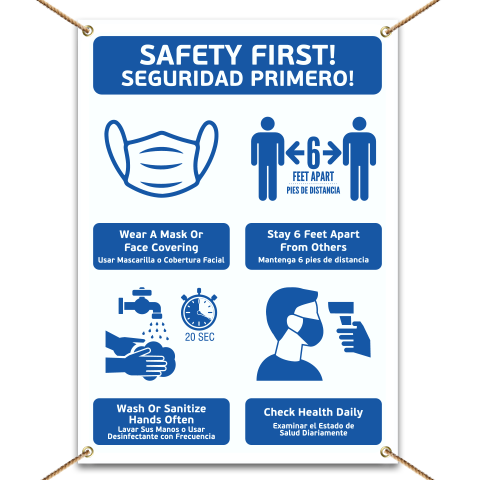 Bilingual Safety First! Wear A Mask and Stay 6Ft Apart Banner