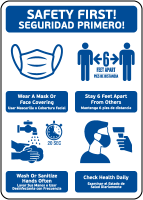 Bilingual Safety First! Wear A Mask and Stay 6Ft Apart Sign