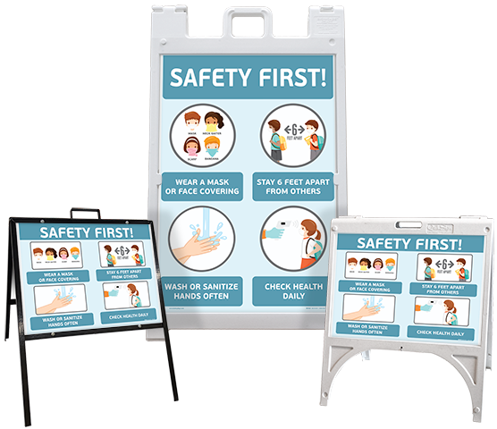 Safety First! Wear a Mask Childrens Sandwich Board Sign