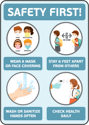 Safety First! Wear a Mask Childrens Sign