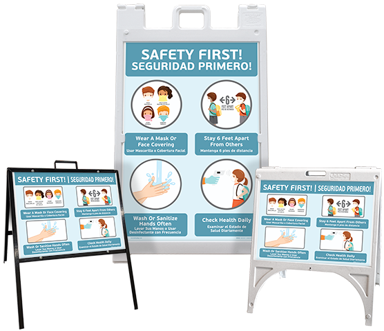 Bilingual Safety First! Wear a Mask Childrens Sandwich Board Sign