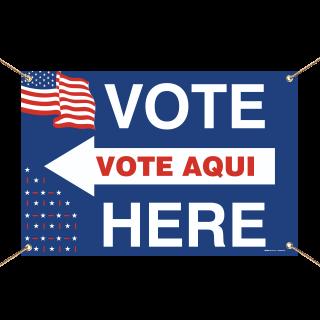 Vote Here Left Arrow Bilingual Banner