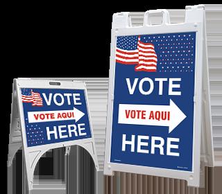 Vote Here Right Arrow Bilingual Sandwich Board Sign