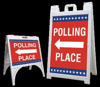 Polling Place Left Arrow Sandwich Board Sign