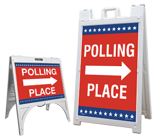 Polling Place Right Arrow Sandwich Board Sign
