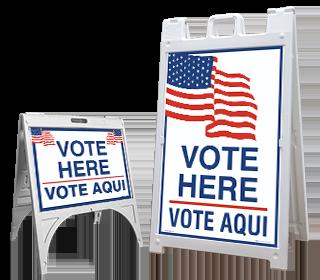 Vote Here Bilingual Sandwich Board Sign