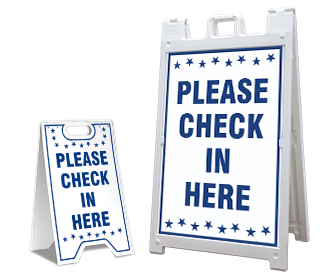 Please Check In Here Sandwich Board Sign