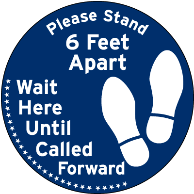 Please Stand 6 Ft Apart Floor Sign