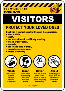 Visitors Coronavirus Infection Control Sign