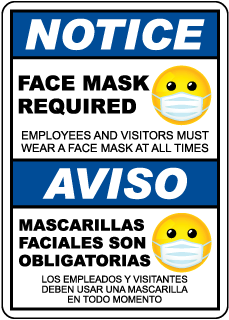 Bilingual Notice Face Mask Required Employeess and Visitors Sign