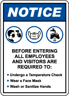 Notice Employee And Visitors Protocols Sign