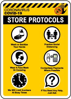 COVID-19 Store Protocols Sign