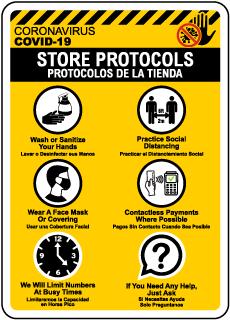Bilingual COVID-19 Store Protocols Sign