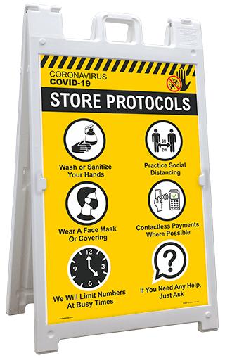 COVID-19 Store Protocols Sandwich Board Sign