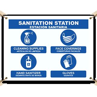 Bilingual Sanitation Station Banner