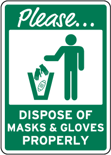 Please Dispose of Masks & Gloves Properly Sign