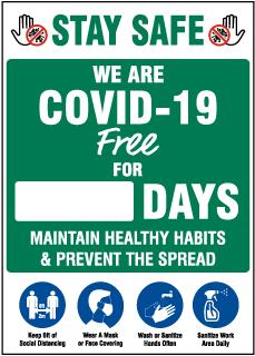 Stay Safe We are COVID-19 Free Scoreboard