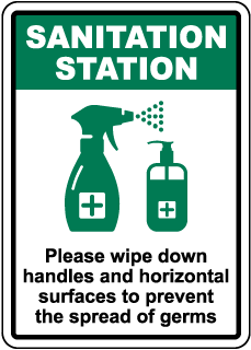 Sanitation Station Wipe Down Surfaces Sign