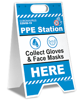 PPE Station Collect Gloves & Face Masks Here Floor Stand