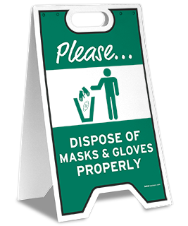 Please Dispose of Masks & Gloves Properly Floor Stand